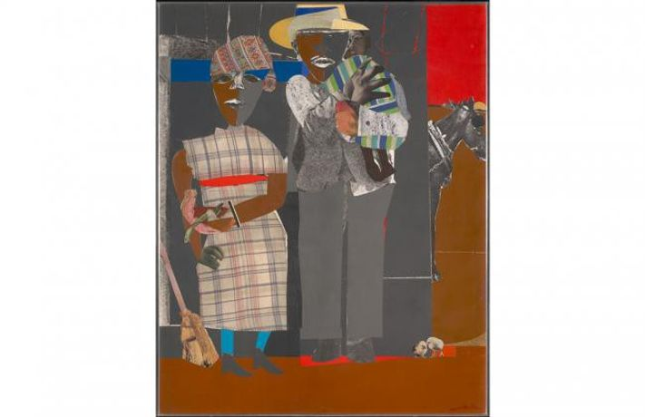 Romare Bearden: Continuities, 1969; collage on board; 50 x 43 in.; BAMPFA, gift of the Childe Hassam Fund of the American Academy of Arts and Letters, © 2019 Romare Bearden Foundation/Licensed by VAGA at Artists Rights Society (ARS), NY.