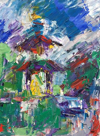 Battersea Pagoda,  Oil on cavas