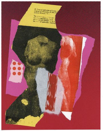 Alan Pocaro, Sibylline Books (Apothegm), Screenprint with torn and pasted screenprints and lithograph on paper. 8 X 10