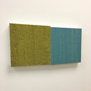 Andrew Parkinson, Check & Weave, acrylic on canvas, each canvas 30.5cm x 30.5cm