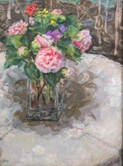 Diana Armfield RA, Early Spring Bunch with Camellia, 2014.