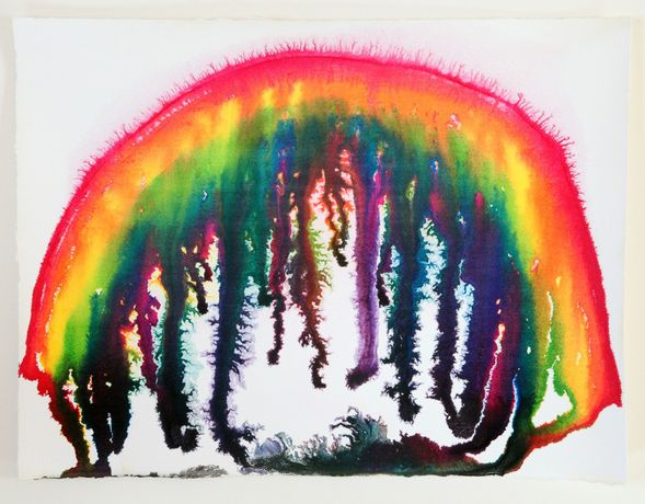 Graham Fagen RSA, Lockdown Rainbow (4), Indian ink on Waterford 300g/m watercolour paper, 28.5 x 38 cm