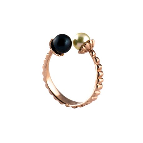 Akvile Cenkyte, Electric Flowers Ring - 9ct Rose Gold with Pearls