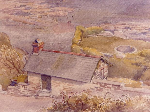 'The Cabin from Bucks Mills Cliff' Mary Stella Edwards, 1965, watercolour