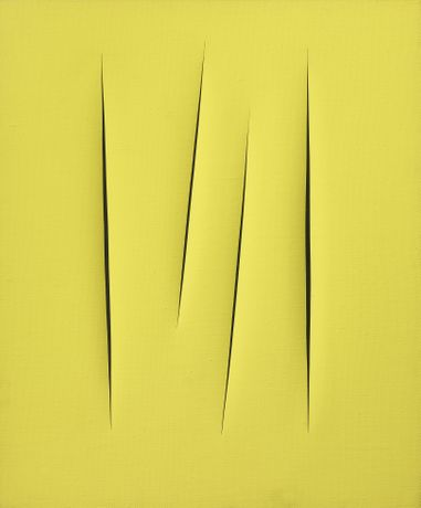 Lucio Fontana Concetto spaziale, Attese, 1965 water-based paint on canvas 32,28 x 26,18 inch - 82 x 66,5 cm Courtesy Tornabuoni Art