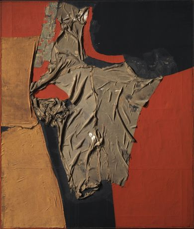 Alberto Burri, Rosso nero, 1955, cloth, oil and glue on canvas, 100x86cm, Courtesy Tornabuoni Art