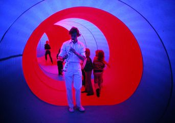 Phil Hyde performing in the Action Space Spiral inflatable structure, London, 1978. Courtesy of the Action Space Extended Archive.