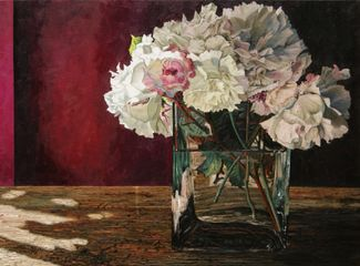 Vase and Roses Oil on Canvas 28 x 38 inches