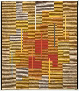 Adolf Fleischmann: Composition 12 yy, vibration en jaune-..., 1951 Öl auf Leinwand/Oil on canvas, 92 x 78 cm Daimler Art Collection, Stuttgart/Berlin Foto/Photo: Andreas Freytag, Stuttgart