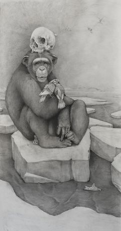 Chimp with Skull, 2016. Graphite on paper, 60 x 36 inches