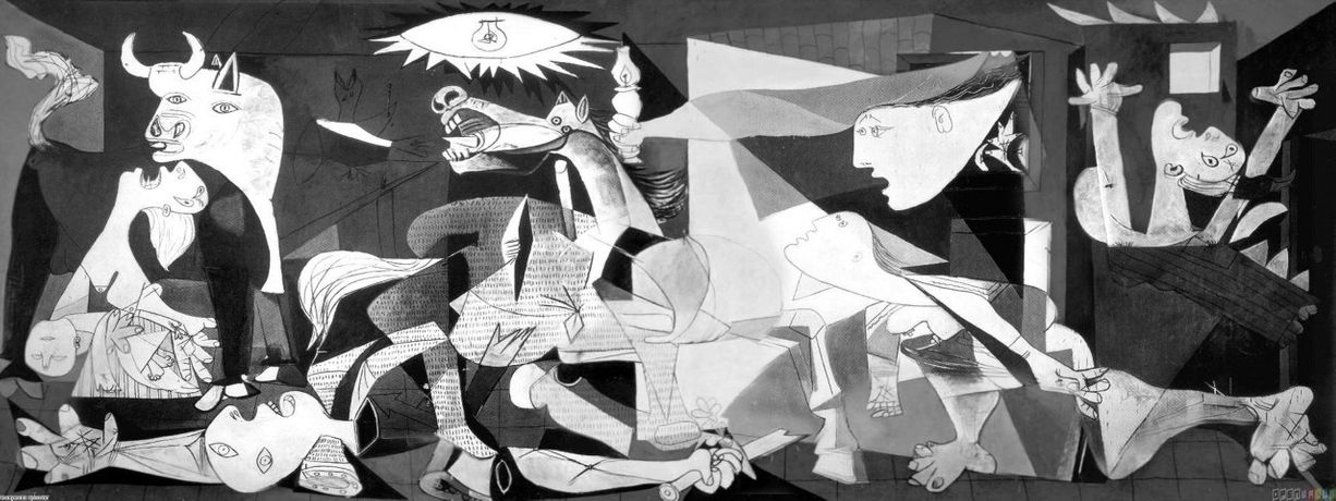 Pablo Picasso [1937] Guernica. Oil on canvas, 349 cm × 776 cm.