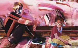 Adrian Ghenie, Rest During the Flight Into Egypt, 2016, (Detail).Los Angeles County Museum of Art (LACMA), Los Angeles. Generously gifted by the Abrishamchi Family Collection, M.2017.76