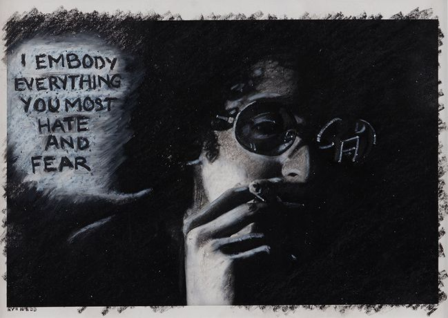Adrian Piper, The Mythic Being: I Embody Everything You Most Hate and Fear, 1975. Silver gelatin print, oil crayon. 8 x 10 inches (20.3 x 25.4 cm). Private Collection. © Adrian Piper Research Archive Foundation Berlin.
