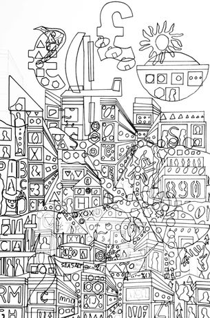 Cityscape colouring-in design by Graeme Newton