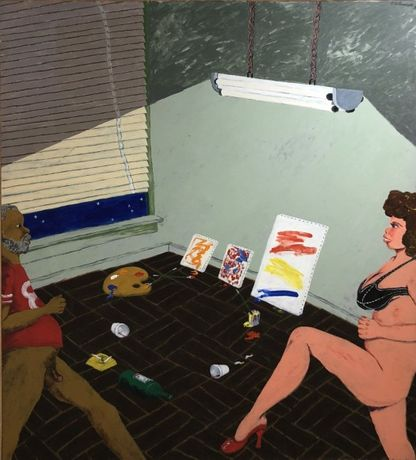 Robert Colescott Walking Man and Woman (After Hours in a California Art Studio), March 1982 Acrylic on canvas 84 x 72 in (213.4 x 182.9 cm)
