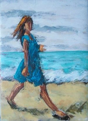 Stepping Out - oil on canvas by Damian Callan