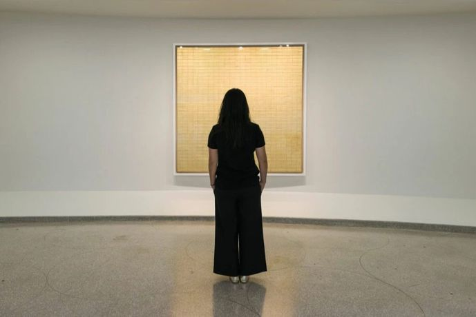Agnes Martin, Solomon R. Guggenheim Museum, New York, October 7, 2016–January 11, 2017. Photo: Kristopher McKay
