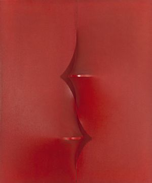 Agostino Bonalumi  'Rosso', 1968. Courtesy: Private Collection . Photo Fraser Marr
