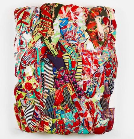 Aiko Hachisuka, Untitled, 2017, Silkscreen on clothing, kapok, upholstery fabric, foam on wood support, 76 x 63 x 20 inches (193 x 160 x 50.8 cm), Courtesy Van Doren Waxter, NY
