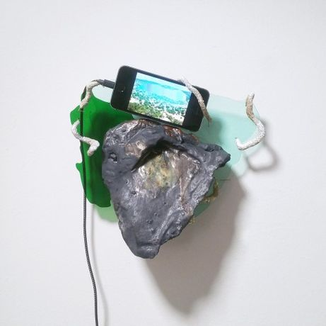 Embedding, 2017, single channel video (unique), iphone, glazed ceramic, acrylic glass, epoxy clay, copper wire, 13 x 10 x 3.5 inches