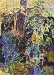 Alan Gussow (1931-1997), DARK LEDGE WITH WILD IRIS, 1972, Oil on canvas, 30 x 22 inches