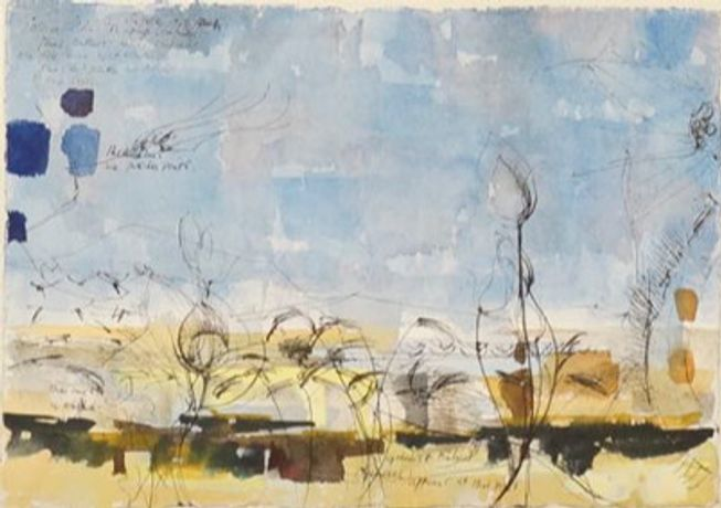 Alan Reynolds, Study for 'Summer: Young September's Cornfield', 1954, watercolour and ink on paper