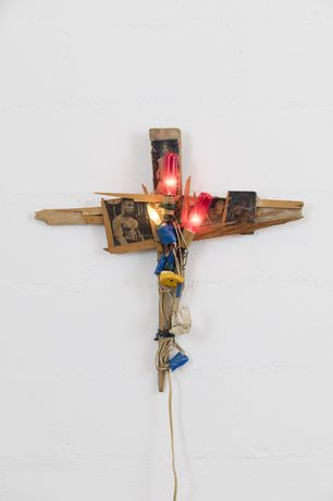 Alan Vega, Mike, 1983, Wood, paper, light bulbs, plastic, nails, 61 x 66 x 18cm, unique
