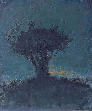 "Arbre à l'aube. Oil on canvas. 21½"" x 18″"