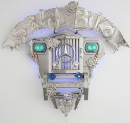 Transformers I (Spakol-Bukol), 2010, stainless steel, jeep parts & LED lights, 68.5 x 56.7 inches/174 x 144 cm Inquire