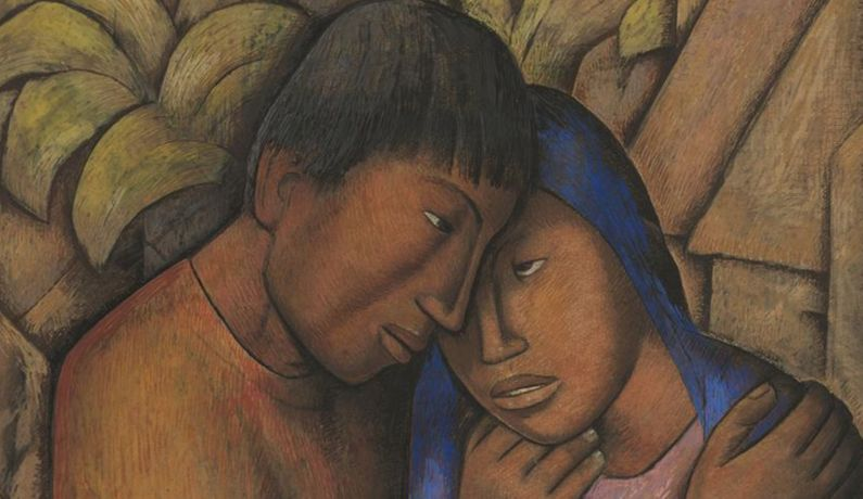 Alfredo Ramos Martínez, Los Amantes (The Lovers) (detail), ca. 1930. Watercolor and gouache on paper / Acuarela y aguada sobre papel. SBMA, Gift of the P.D. McMillan Land Company, 1963.28. © The Alfredo Ramos Martínez Research Project.