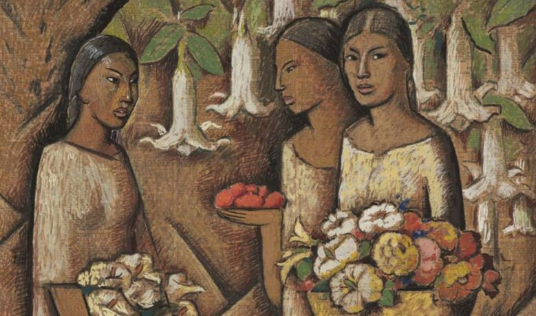 Alfredo Ramos Martínez, Mujeres con flores (Women with Flowers) (detail), ca. 1946. Tempera and Conté crayon on newsprint / Tempera y crayón Conté sobre papel periódico. SBMA, Gift of the P.D. McMillan Land Company, 1963.32.1 © The Alfredo Ramos Martínez Research Project.