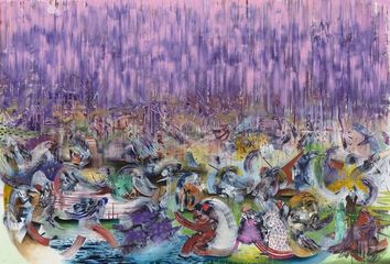 Ali Banisadr The Lesser Lights 2014 Oil on linen 208.3 x 304.8 cm / 82 x 120 in