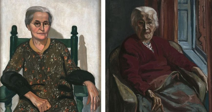 LEFT: My Mother (detail), 1930; RIGHT: My Mother (detail), 1952, © The Estate of Alice Neel, courtesy The Estate of Alice Neel and Victoria Miro