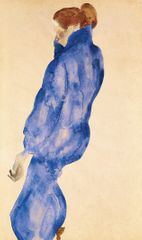 Egon Schiele (1890-1918)  Frau in einem blauen Kleid (Kleid (Woman in a blue Dress), 1911 Watercolour and pencil on paper Alicia Koplowitz-Grupo Omega Capital Collection