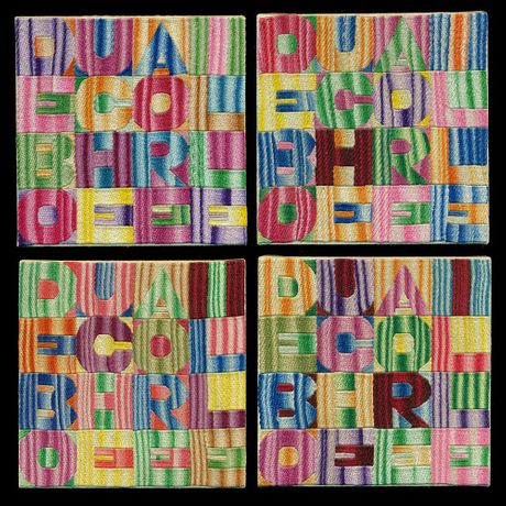 Alighiero Boetti, De Bouche a Oreille, 1993,  embroidery on fabric, each 18 x 18 cm, Courtesy Mazzoleni London