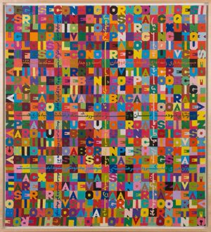 Alighiero Boetti, Accanto al Pantheon, 1988, embroidery on fabric, 114 x 106 cm, Courtesy Mazzoleni London
