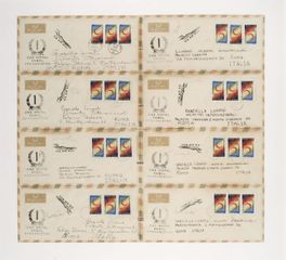 Alighiero Boetti, Lavoro postale (8 lettere da Kabul), 1972 eight stamped envelopes (Afghan stamps) 40 x 50 cm