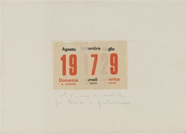 Alighiero Boetti (1940 - 1994) Calendario, 1979 Signed and inscribed Collage and pencil on paper 17.5 x 25 cm; (6 7/8 x 9 7/8 in.)