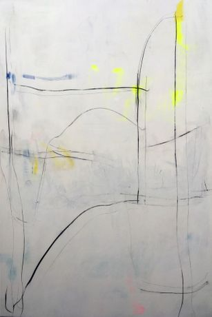 Untitled, 2017, acrylic,housepaint,charcoal,pencil  on linen, 195 x 125 cm