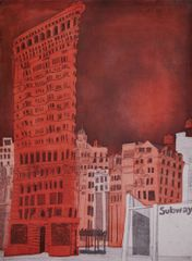 Alison Neville, The Flatiron Building New York, etching with chine colle, edition of 25, 64 x 47cm