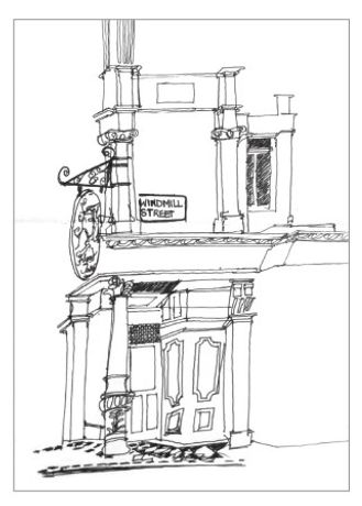 The Fitzroy Tavern, ink on paper, 60 x 21cm