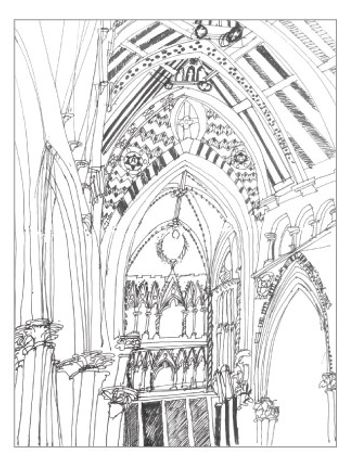 All Saints, Margaret Street, ink on paper, 60 x 21cm