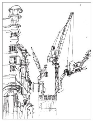 The Changing Face of Fitzrovia, Eastcastle Street, ink on paper, 60 x 21cm
