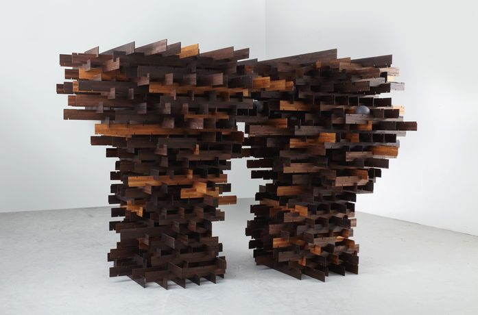 Image: Alison Wilding, In a Dark Wood, 2012  Reclaimed laminated iroko and acrylic 210 x 370 x 217 cm | 82 5/8 x 145 5/8 x 85 3/8 in  Courtesy of Karsten Schubert, London