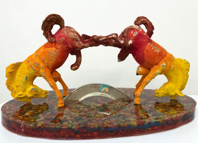 Elizabeth Ferry, Bucking Broncos, 2018, Horse figurines, enamel, flock, cereal, resin, sparkle, 9h x 15.5w x 9d in