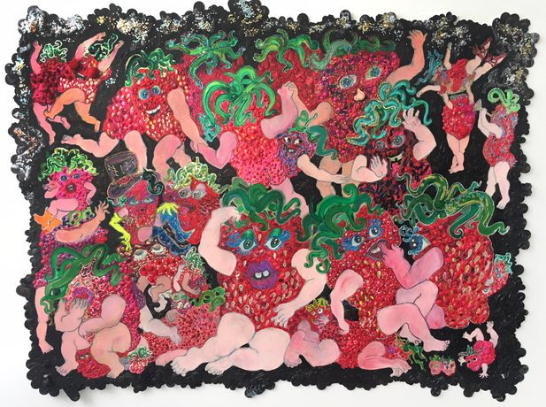 Irena Jurek, Strawberries Wild, 2018, Arcylic, graphite, colored pencil, glitter, and collage on paper, 46h x 62w in