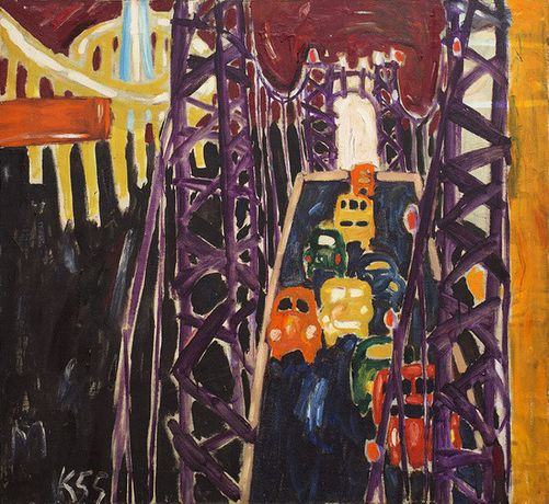 George Washington Bridge, with Cars, 1955 Oil on canvas  106.7 x 127 cm / 42 x 50 in  © Allan Kaprow Estate  Private collection of Michael and Jennifer Peters