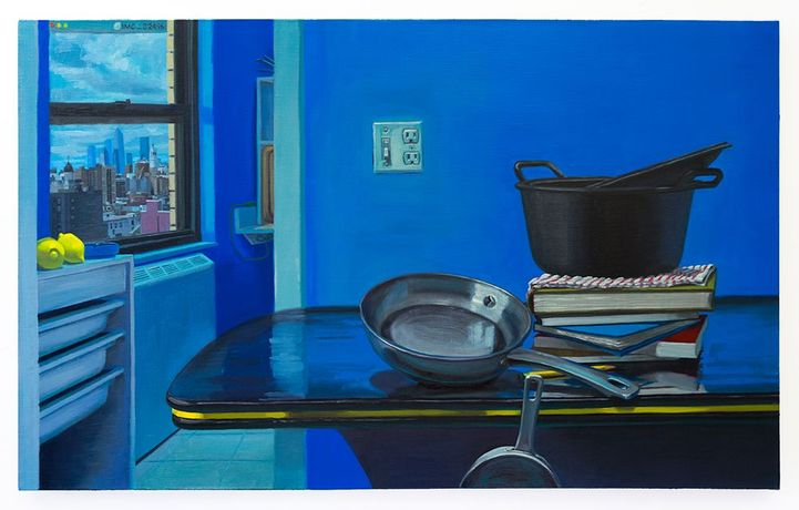 Patrick Bayly. blue, pots and pans, 2020. Oil on linen, 27 1/2 x 45 inches (69.9 x 114.3 cm)
