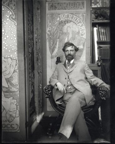 Alphonse Mucha shown with posters for Sarah Bernhardt in his studio c. 1901 Gelatin silver print © Mucha Trust 2015
