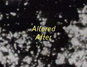 Altered After catalog cover (detail), designed by Jean Foos. Image: Leslie Kaliades, still from Altered After, 1997. Video, black and white, sound, 15:07 min